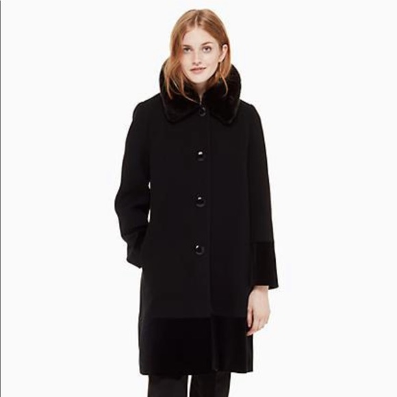 Kate Spade Faux Fur Collar Velvet Trim Coat
